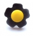 Novelty Button Flower Yellow and Brown 15mm