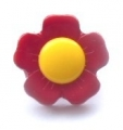 Novelty Button Flower Yellow and Burgundy 15mm