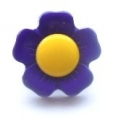 Novelty Button Flower Yellow and Purple 15mm