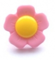 Novelty Button Flower Yellow and Pink 22mm