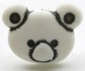 Novelty Button Teddy Face White 15mm
