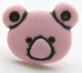 Novelty Button Teddy Face Pink 15mm