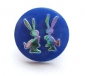 Novelty Button Bunnies Royal Blue and Rainbow 14mm