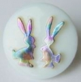 Novelty Button Bunnies White and Rainbow 14mm
