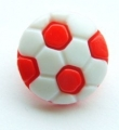 Novelty Button Football Red 15mm