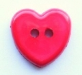 Novelty Button Heart Red 14mm