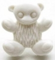 Novelty Button Teddy White 15mm