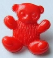 Novelty Button Teddy Red 15mm