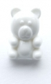 Novelty Button Sitting Bear White 15mm