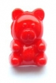 Novelty Button Sitting Bear Red 15mm