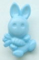 Novelty Button Bunny and Carrot Light Blue 12mm