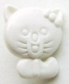Novelty Button Cat White 12mm