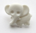 Novelty Button Elephant White 13mm