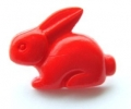 Novelty Button Bunny Red 18mm