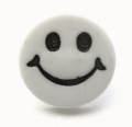 Novelty Button Smiley Face White 14mm
