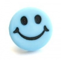 Novelty Button Smiley Face Light Blue 14mm