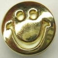 Novelty Button Smiley Face Gold 17mm