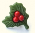 Novelty Button Christmas Holly 15mm