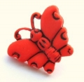 Novelty Button Butterfly Red 16mm