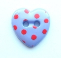 Novelty Button Heart Red Spot and Lilac