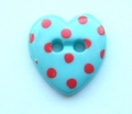 Novelty Button Heart Red Spot and Jade