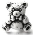 Novelty Button Teddy Black and White 16mm