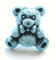 Novelty Button Teddy Black and Light Blue 16mm