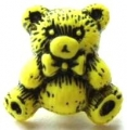 Novelty Button Teddy Black and Yellow 16mm