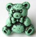 Novelty Button Teddy Black and Light Green 16mm