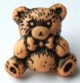 Novelty Button Teddy Black and Peach 16mm