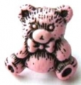 Novelty Button Teddy Black and Pink 16mm