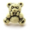 Novelty Button Teddy Black and Cream 16mm