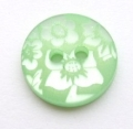 15mm Flower Light Green Sewing Button