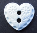 Novelty Button White Fancy Heart 15mm
