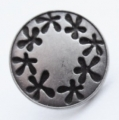 15mm Silver and Black Shank Metal Button