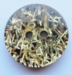 13mm Black Gold Tinsel Sewing Button