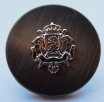 15mm Coat Of Arms Brushed Black Metal Button
