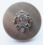 15mm Coat Of Arms Brushed Silver Metal Button