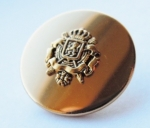 15mm Coat Of Arms Mirror Gold Metal Button