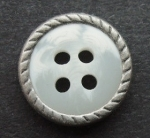 13mm Matt Silver Metal Edge White Aran 4 Hole Metal Button