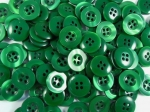 100 x 15mm Shadow Stripe Green Sewing Buttons 4 Hole
