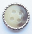 12mm Silver Metal Edge Brown Aran 4 Hole Metal Button