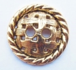 Metal Button 15mm Gold Weave