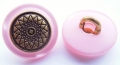 15mm Pink and Gold Shank Metal Button