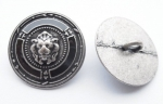 15mm Lion Black Enamel Silver Metal Button