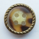 13mm Brown Metal Edge Mid Brown Aran 4 Hole Metal Button