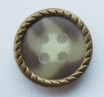 13mm Brown Metal Edge Brown Aran 4 Hole Metal Button