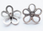 15mm Silver Flower Shank Metal Button