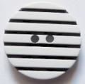 24mm Black and White Stripe Button