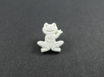 Novelty Button Happy Frog White 17mm